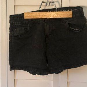 Black denim cotton on shorts